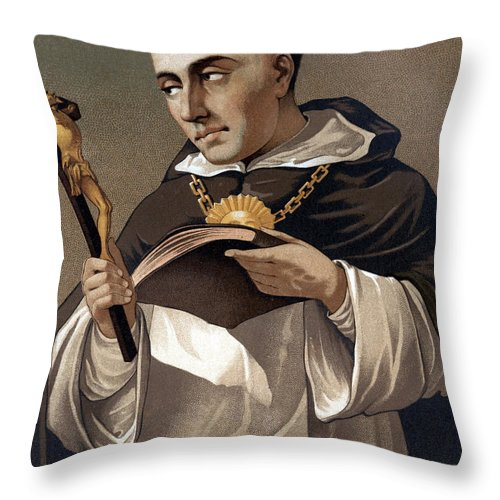 Cross Throw Pillow featuring the painting Portrait Of St Thomas Aquinas 1225-1274, Italian Theologian by Italian School