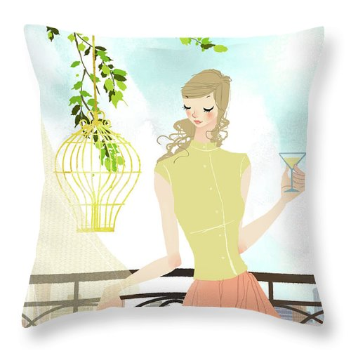 Tranquility Throw Pillow featuring the digital art Portrait Of Young Woman Holding by Eastnine Inc.