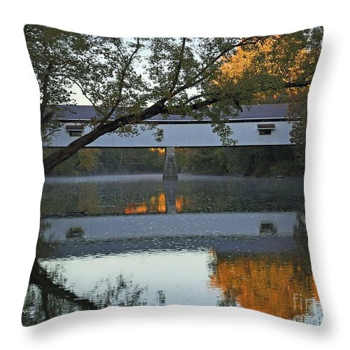 Covered Throw Pillow featuring the photograph Potter's Bridge, Noblesville, Indiana by Steve Gass