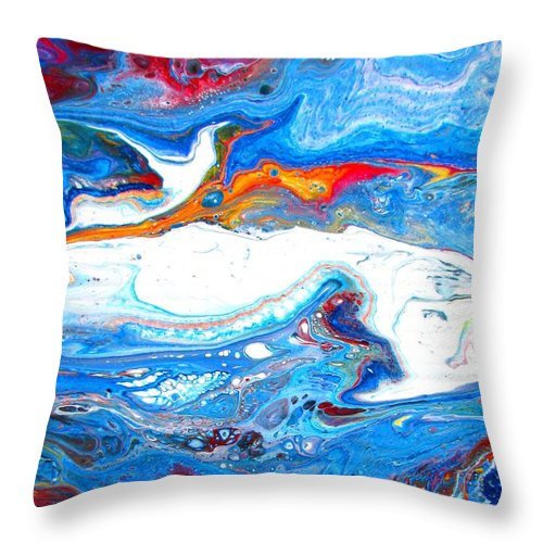 Spirit Throw Pillow featuring the painting pour 25 the Spirit is moving by Catherine Schmid Murphy