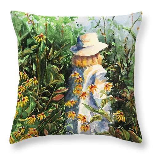 Watercolor Throw Pillow featuring the painting Prairie Girl by Donna Pierce-Clark
