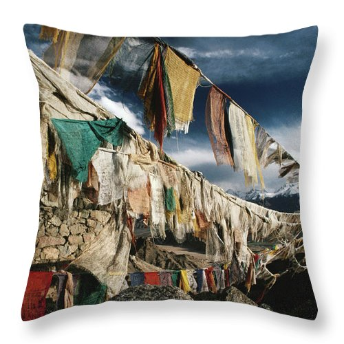 Himalayas Throw Pillow featuring the photograph Prayer Flags Above Leh, Ladakh, Leh by Richard I'anson