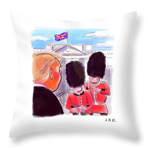 Captionless Throw Pillow featuring the painting Presidential Visit To The Uk by Jason Adam Katzenstein