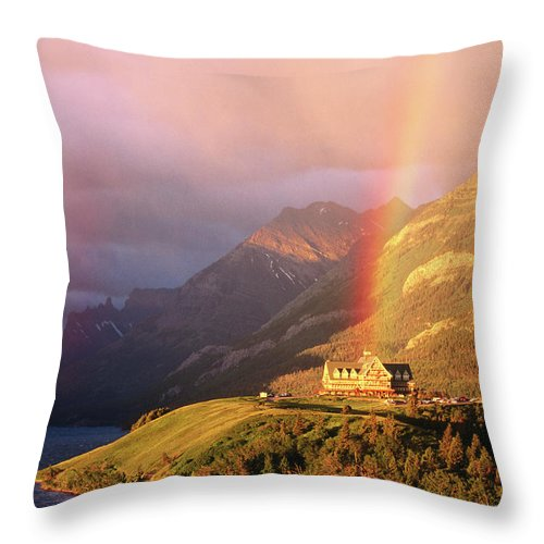 Scenics Throw Pillow featuring the photograph Prince Of Wales Hotel, At The End Of A by John Elk