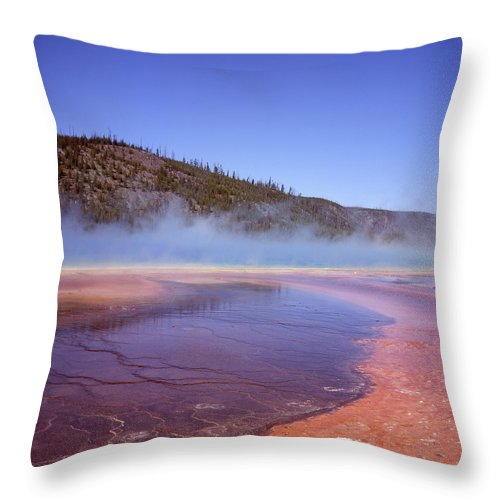 Tranquility Throw Pillow featuring the photograph Prismatic Spring Algae by L. Maile Smith