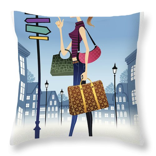 Problems Throw Pillow featuring the digital art Profile Of Woman Standing In Front Of by Eastnine Inc.