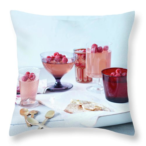 Spoon Throw Pillow featuring the photograph Prosecco Jellies by Brett Stevens