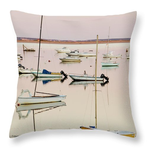 Sailboat Throw Pillow featuring the photograph Provincetown Harbor by Walter Bibikow