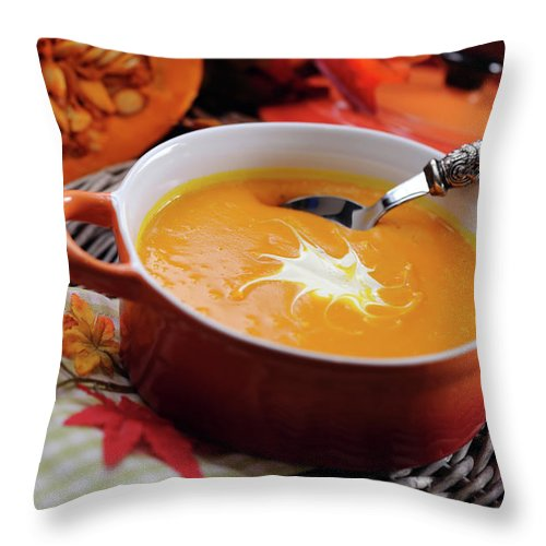 Event Throw Pillow featuring the photograph Pumpkin Soup In Skew With Creme Fraiche by Moncherie