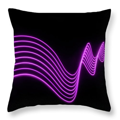 Laser Throw Pillow featuring the photograph Purple Abstract Lights Trails And by John Rensten