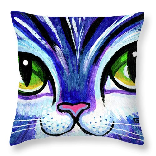 Cat Throw Pillow featuring the painting Purple Cat Face With Green Eyes by Genevieve Esson