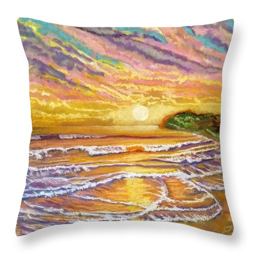 Sunset Throw Pillow featuring the painting Purple Sunset Beach by Patricia Bonnette