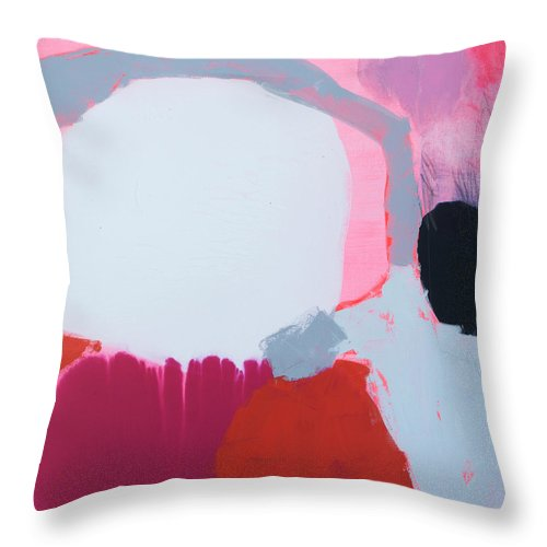 Abstract Throw Pillow featuring the painting Pussycats In Pussy Hats by Claire Desjardins