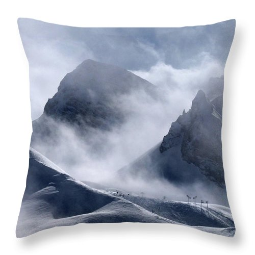Scenics Throw Pillow featuring the photograph Pyramide And Roc Merlet In Courchevel by Niall Corbet @ Www.flickr/photos/niallcorbet
