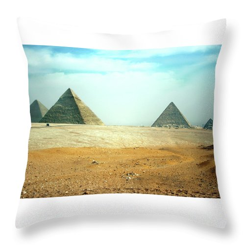 Pyramids Of Giza Throw Pillow featuring the photograph Pyramid Of Giza Plus One by Beth Parin