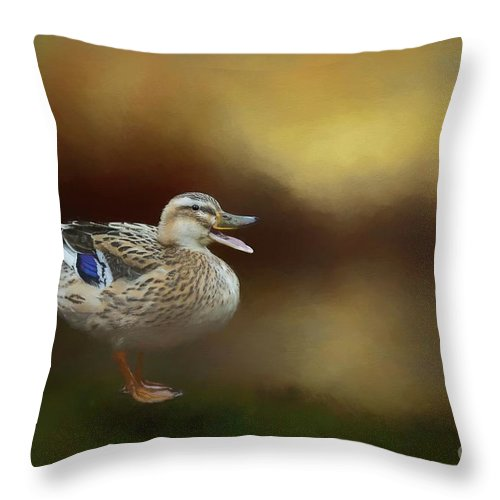 Mallard Throw Pillow featuring the mixed media Quack Quack by Eva Lechner