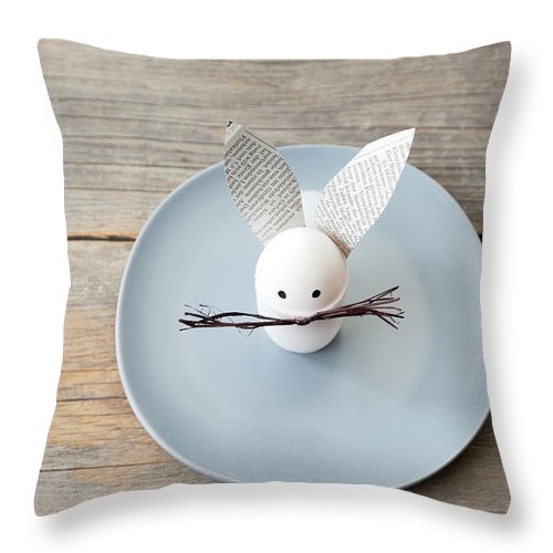 Holiday Throw Pillow featuring the photograph Rabbit Decoration On Plate by Stefanie Grewel