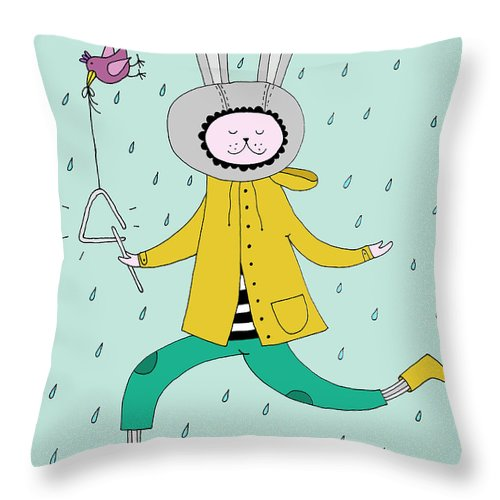 Animal Themes Throw Pillow featuring the digital art Rabbit In Rain by Kristina Timmer