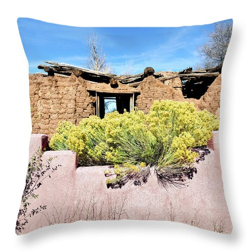 Ruins Throw Pillow featuring the photograph Rabbitbrush And Adobe Ruins by Kathleen Bishop