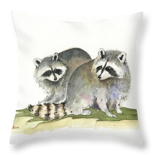 Raccoon Art Throw Pillow featuring the painting Raccoon Friendship by Juan Bosco
