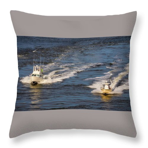 Boats Throw Pillow featuring the photograph Racing To The Harbor by David Kay
