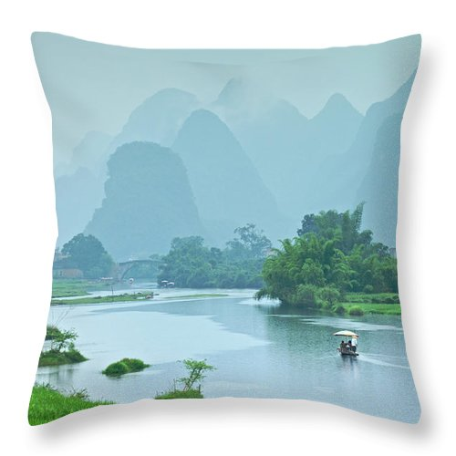 Water's Edge Throw Pillow featuring the photograph Rafting In China by Phototropic