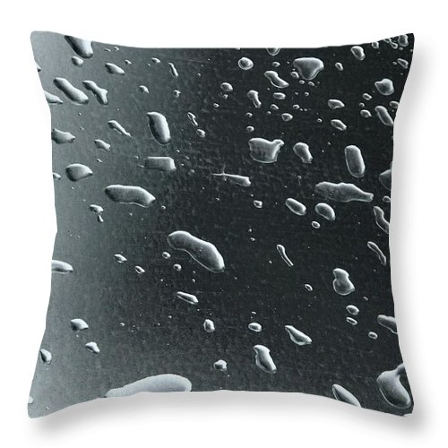 Water Throw Pillow featuring the photograph Rain Drops On Dark Sheet by Norman Burnham