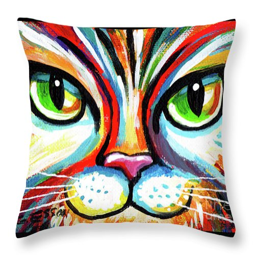 Cat Throw Pillow featuring the painting Rainbow Cat Face by Genevieve Esson