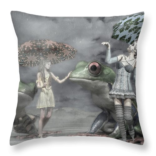 Frog Throw Pillow featuring the digital art Rainy Day Daydream by Betsy Knapp