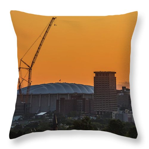 Carrier Dome Throw Pillow featuring the photograph Raising The Roof by Everet Regal