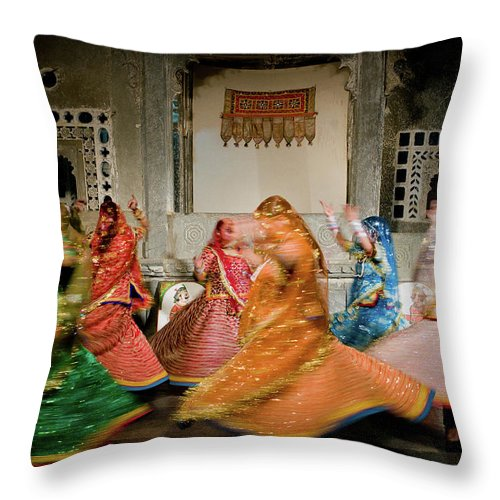 People Throw Pillow featuring the photograph Rajasthani Dances by Ania Blazejewska