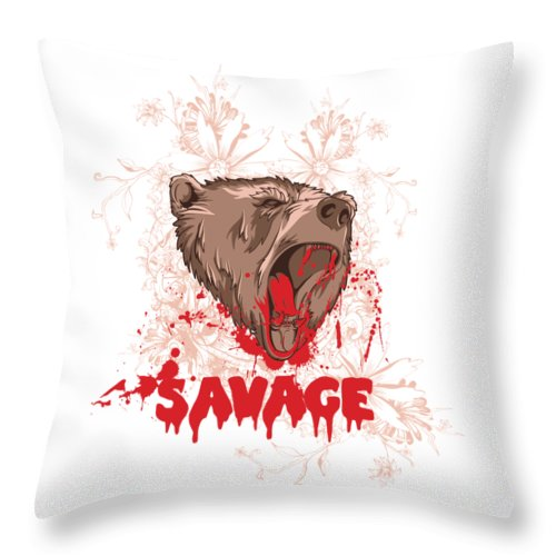 Animal Throw Pillow featuring the digital art Rampaging Bear Savage by Passion Loft