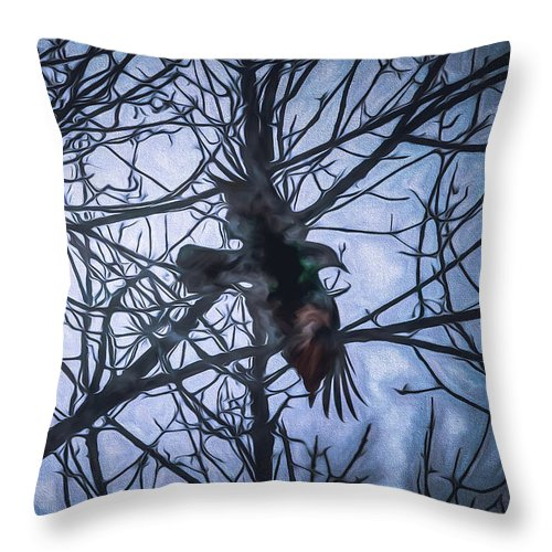 Raven Throw Pillow featuring the painting Raven by Bob Orsillo