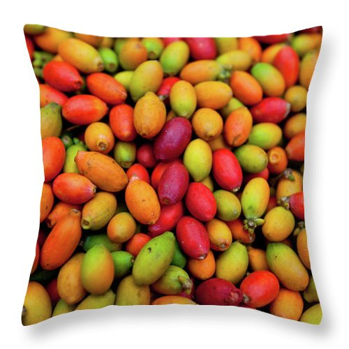Heap Throw Pillow featuring the photograph Raw Coffee Beans by John White Photos