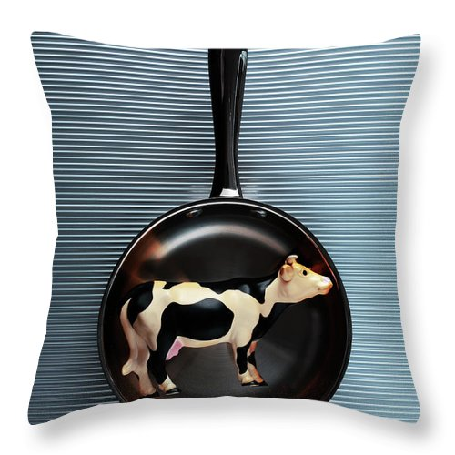 Concepts & Topics Throw Pillow featuring the photograph Raw Steak by Thepalmer