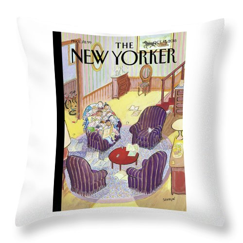 Reading Group Throw Pillow featuring the drawing Reading Group by Jean-Jacques Sempe