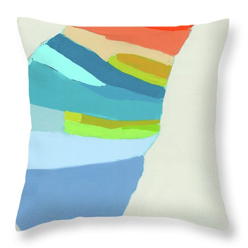 Abstract Throw Pillow featuring the painting Ready To Make A Splash by Claire Desjardins