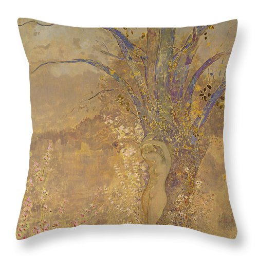 Odilon Redon Throw Pillow featuring the painting Rebirth, Spring, 1908 by Odilon Redon