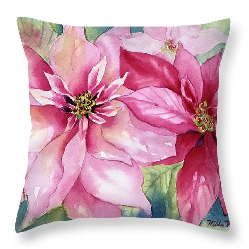 Poinsettia Throw Pillow featuring the painting Red And Pink Poinsettias by Hilda Vandergriff
