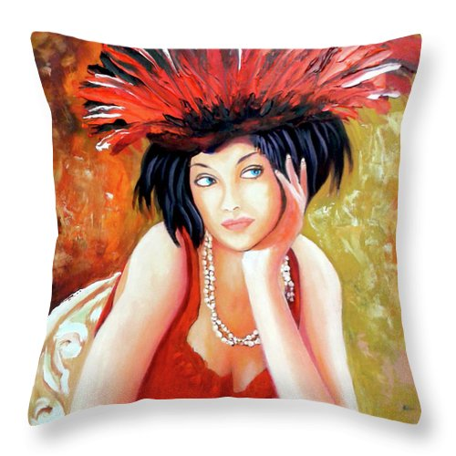 Women Throw Pillow featuring the painting Red Hat by Jose Manuel Abraham