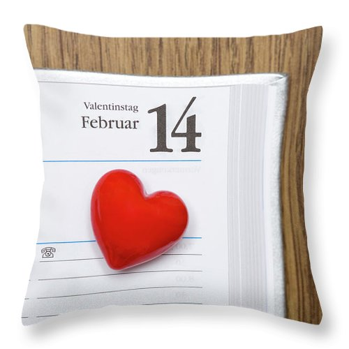Celebration Throw Pillow featuring the photograph Red Heart Marking Valentines Day In A by Stock4b-rf