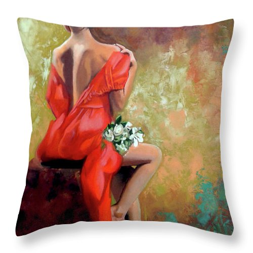 Women Throw Pillow featuring the painting Red Lady 2 by Jose Manuel Abraham