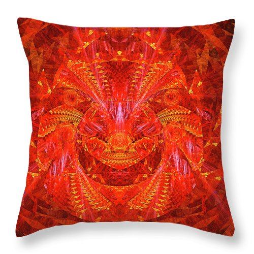 Red Lion Throw Pillow featuring the digital art Red Lion by Moshe Ruzhinsky