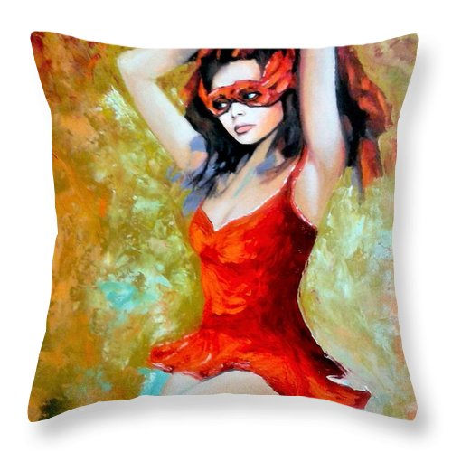 Women Throw Pillow featuring the painting Red Mask Lady by Jose Manuel Abraham