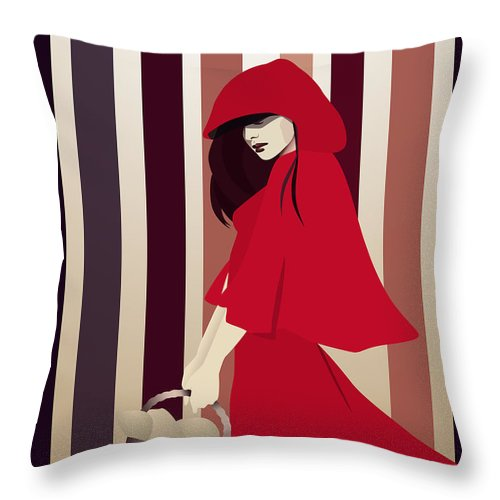 Red Riding Hood Throw Pillow featuring the digital art Red Riding Hood by Hannah Coley