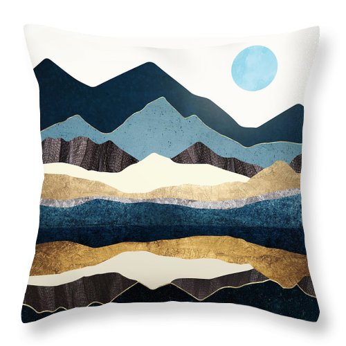 Digital Throw Pillow featuring the digital art Reflect Hills by Spacefrog Designs