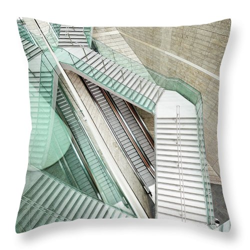 Long Throw Pillow featuring the photograph Reflected Modern Architecture - Winding by Georgeclerk