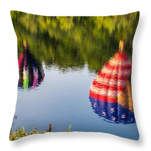 Great Falls Balloon Fest Throw Pillow featuring the photograph Reflections On The Androscoggin by Richard Plourde