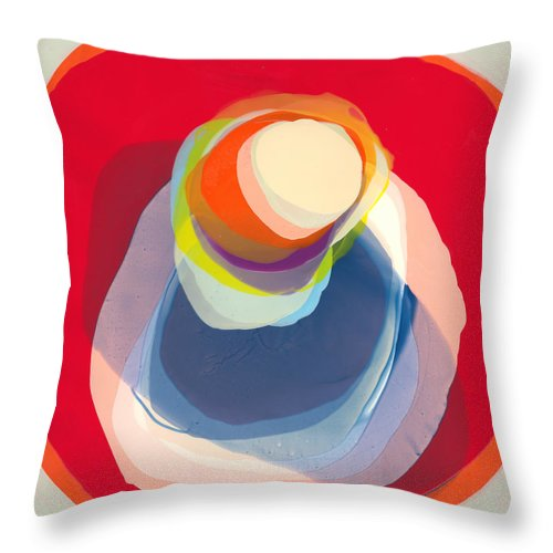 Abstract Throw Pillow featuring the painting Reflective by Claire Desjardins