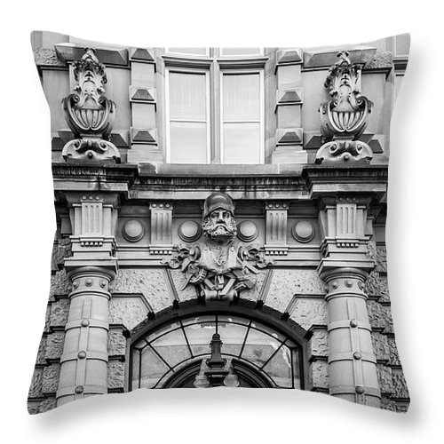 Alsace Throw Pillow featuring the photograph Rene Cassin School B W by Teresa Mucha